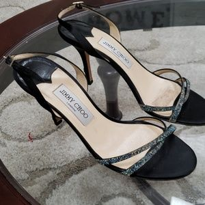Jimmy Choo size 39 black satin &leather heels